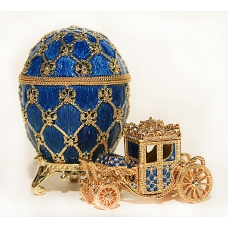 Faberge Style Egg with Coronation Carriage