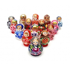 Set of 15 Nesting Matreshka Dolls